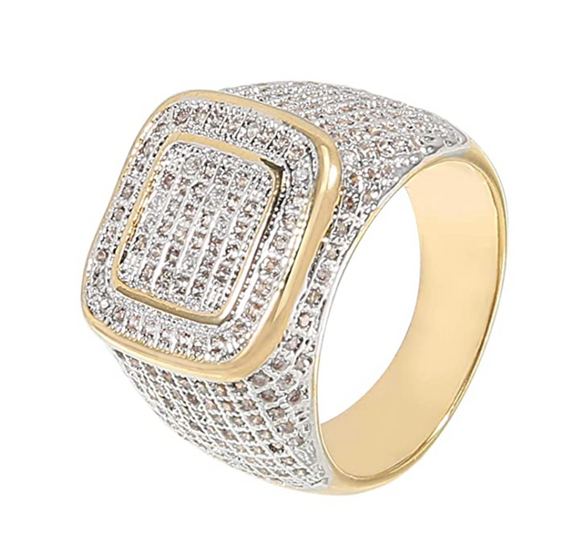 Square Gold Tone Simulated Diamond Ring Hip Hop Jewelry Princess Cut Iced Out Ring