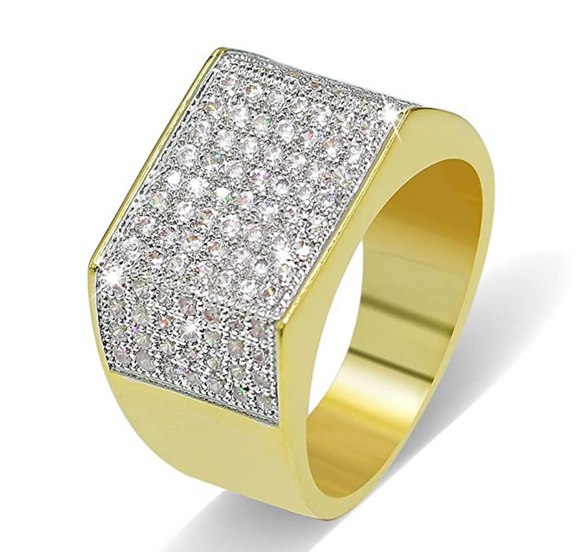 1.5ct Gold Color Hip Hop Ring Simulated Diamond Wedding Band Big Square Ring Iced Out Bling