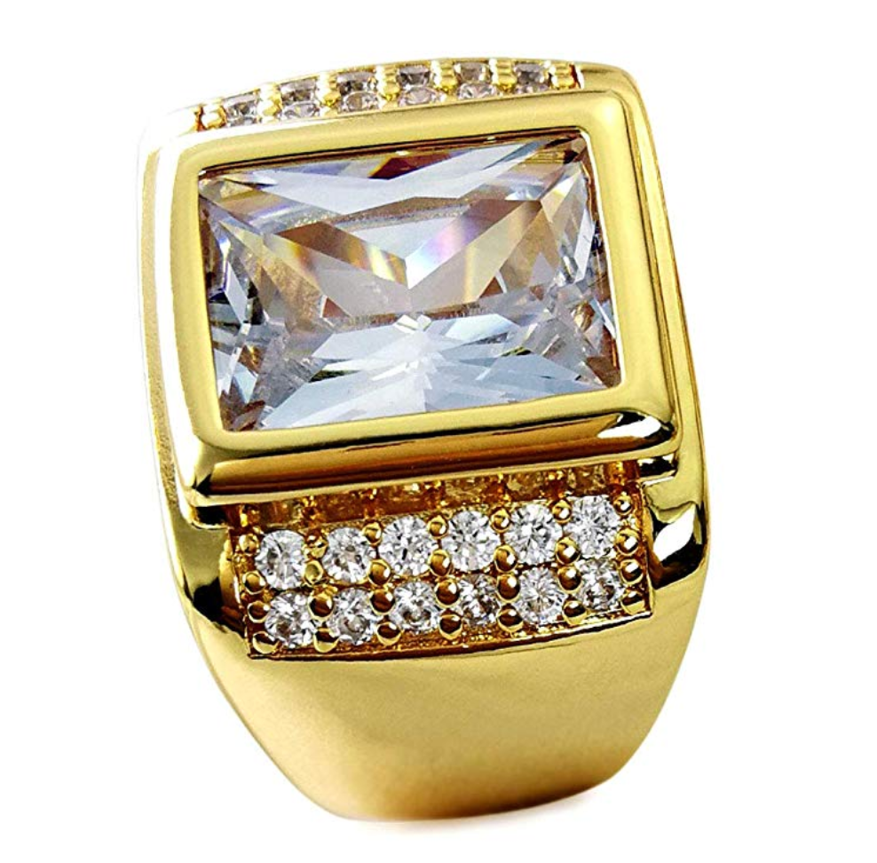 Emerald Cut Diamond Ring Gold Round Solitaire Diamond Baguette Ring Hip Hop Jewelry (2.5ct)