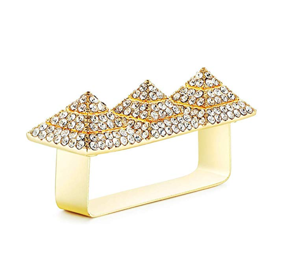 Pyramid Ring Gold Diamond Pyramid 2 Finger Ring Iced Out African Jewelry Egyptian Hip Hop Bling Ring