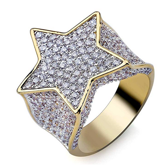 Big Star Ring Gold Diamond Hip Hop Jewelry Rapper Ring Bling Lil Uzi Vert Trippie Redd Jewelry Iced Out Star