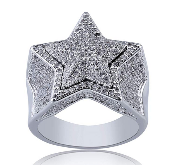 Star Ring Simulated Diamond Ring Migos Gold Silver Color Star Ring Hip Hop Jewelry Lil Uzi Vert Ring