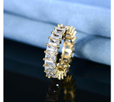 Baguette Ring Emerald Simulated Diamond Ring Hip Hop Iced Out Bling Jewelry Silver Gold Color Prong Set