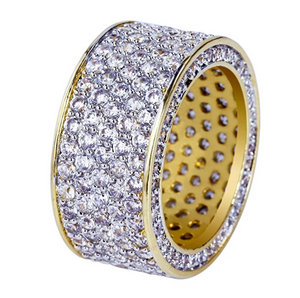 Round Ring Gold Diamonds Hip Hop Ring Silver Iced Out Bling Jewelry (3.5ct.)
