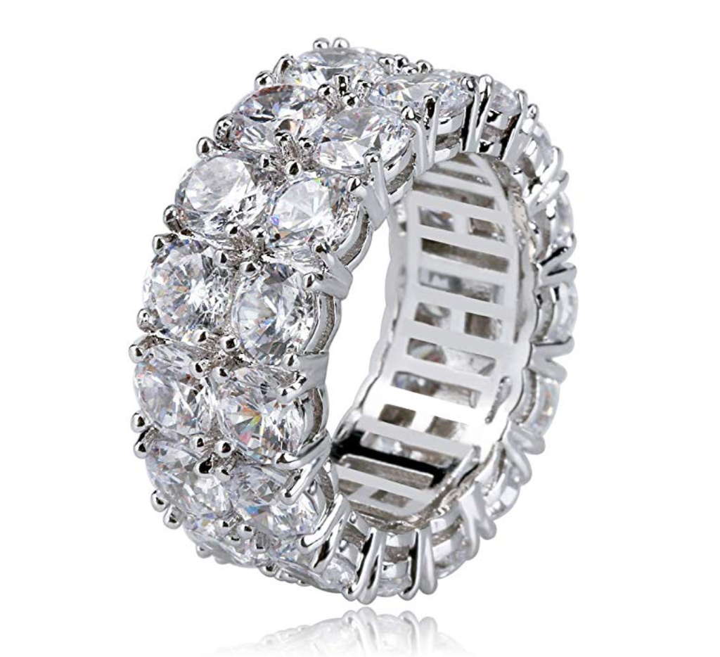Tennis Ring Silver Solitaire Diamond Ring Hip Hop Jewelry Iced Out Gold Tennis Ring Prong Set (4.5ct)