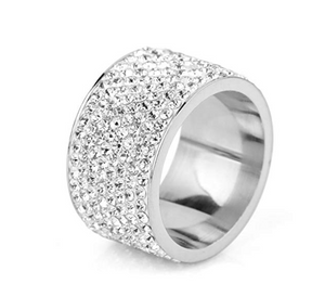 Solitaire Simulated Diamond Silver Ring Round Cut Iced Out Hip Hop Jewelry Bling