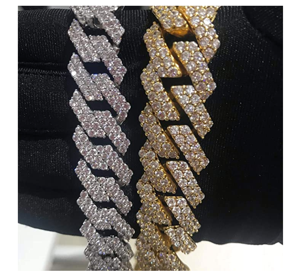 15mm Prong Bracelet Gold Diamond Cuban Link Silver Hip Hop Jewelry Iced Out Bling 8.5in.