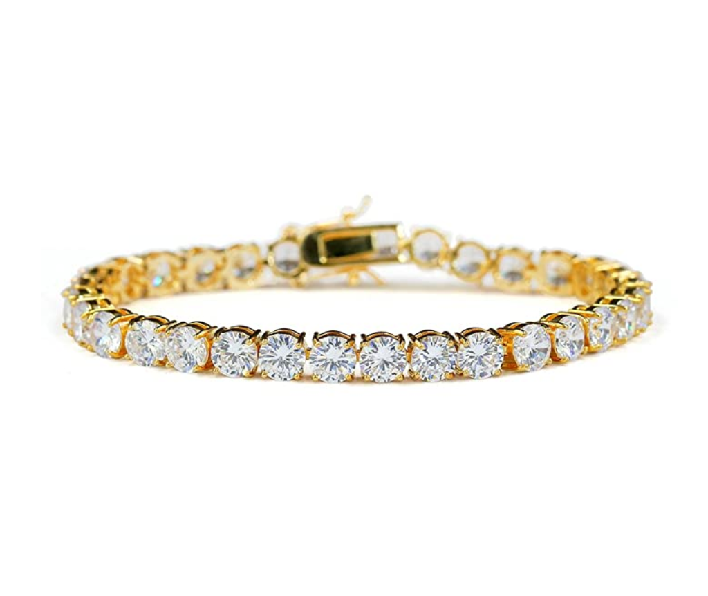 Round Solitaire Diamond Tennis Bracelet Gold Tennis Chain Hip Hop Jewelry Iced Out Bracelet Silver Bling