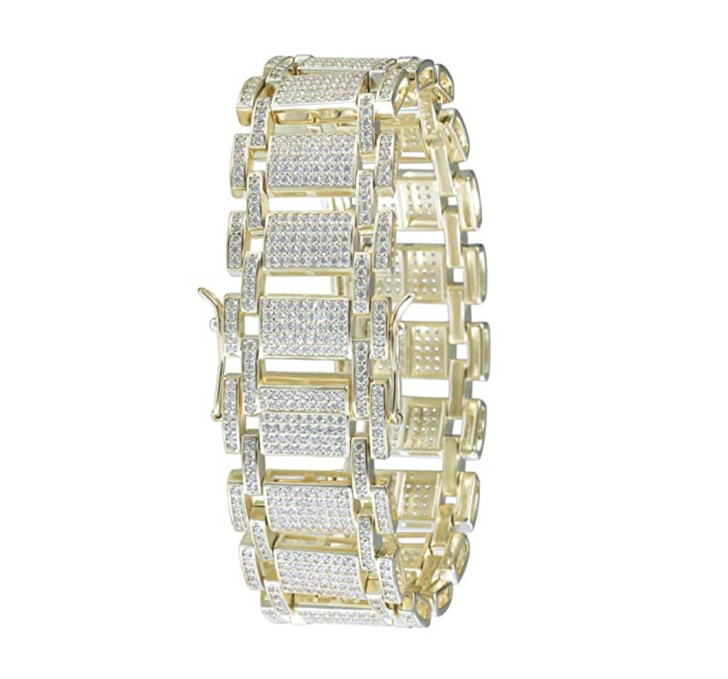 15mm Big Bracelet Hip Hop Jewelry Iced Out Gold Diamond Watch Bracelet Silver Bust Down