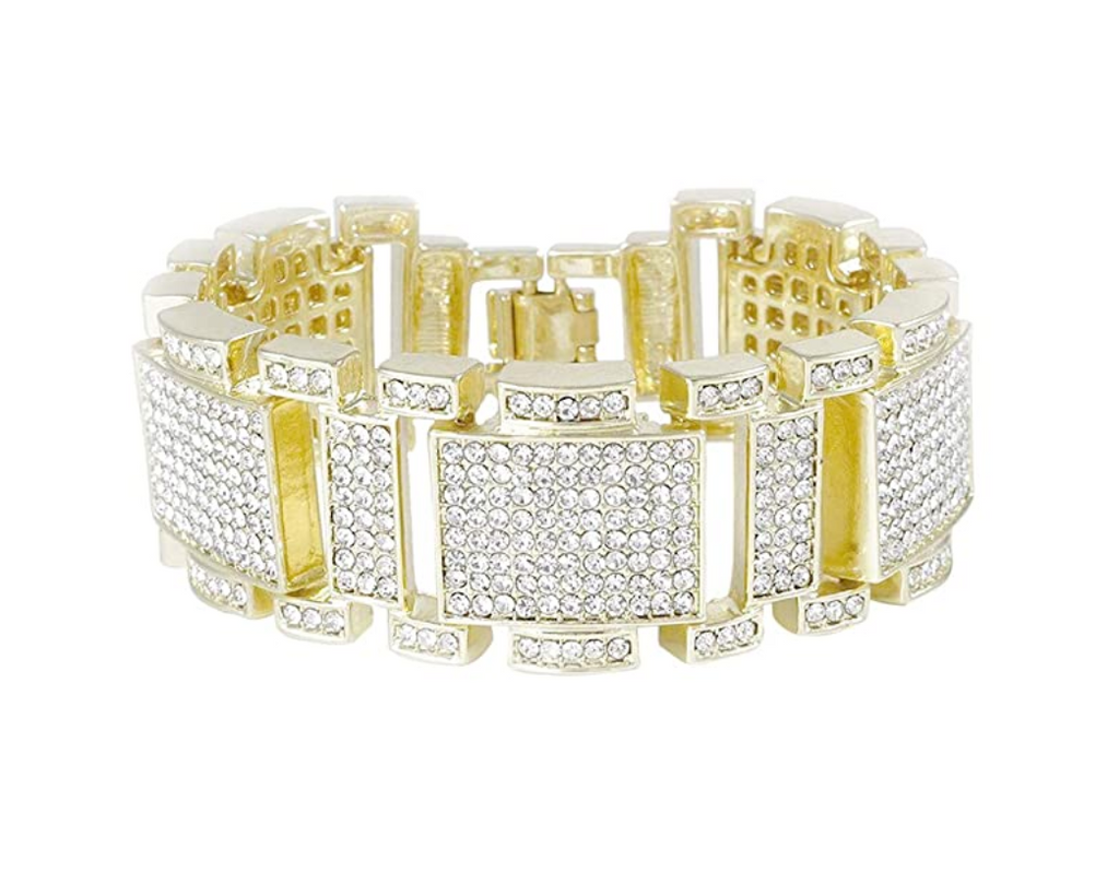 Big Diamond Bracelet Hip Hop Jewelry Iced Out Silver Bling Gold Watch Square Bracelet