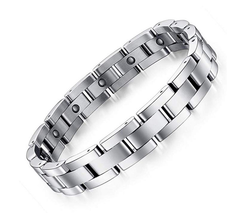 925 Sterling Silver Bracelet Sleek Magnetic Therapy Bracelet Arthritis Pain Relief Men's Gift 9in.