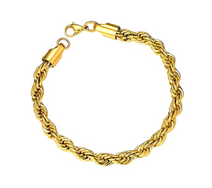 Twist Chain Bracelet Gold Rope Chain Bracelet Hip Hop Jewelry Silver Twist Rope Bracelet