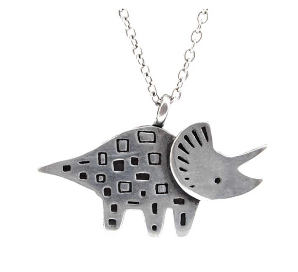 Triceratops Dinosaur Necklace Dinosaur Pendant Chain T-rex Jewelry Triceratops 18in.