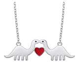 925 Sterling Silver Dinosaur Heart Necklace Love Chain Pendant Silver Chain Dinosaur Jewelry 20in.
