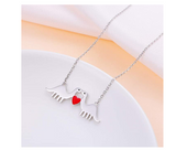 Dinosaur Heart Necklace Love Chain Pendant Silver Chain Dinosaur Jewelry 20in.
