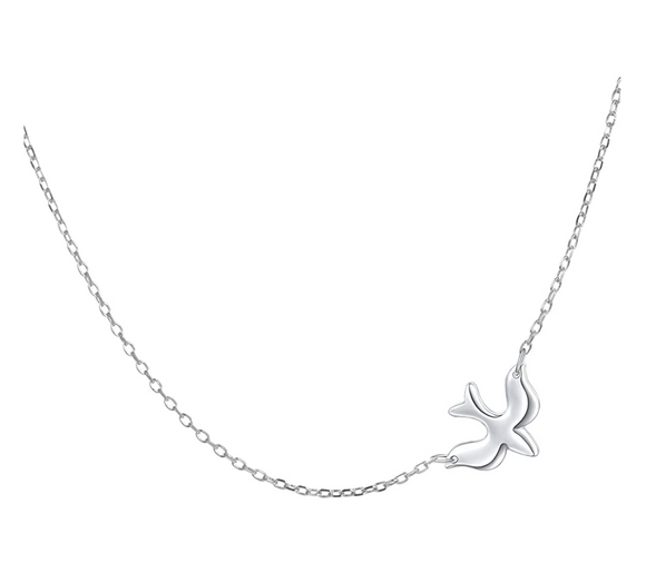 925 Sterling Silver Dove Pendant Bird Necklace Dove Wedding Gift 18in.