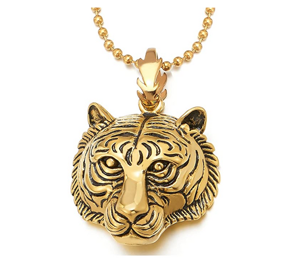 Tiger Necklace Silver Tiger Eye Pendant Animal Chain Tiger Jewelry Gift 30in.