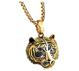 Tiger Necklace Tiger Eye Pendant Animal Chain Tiger Jewelry Gift Tiger 24in.