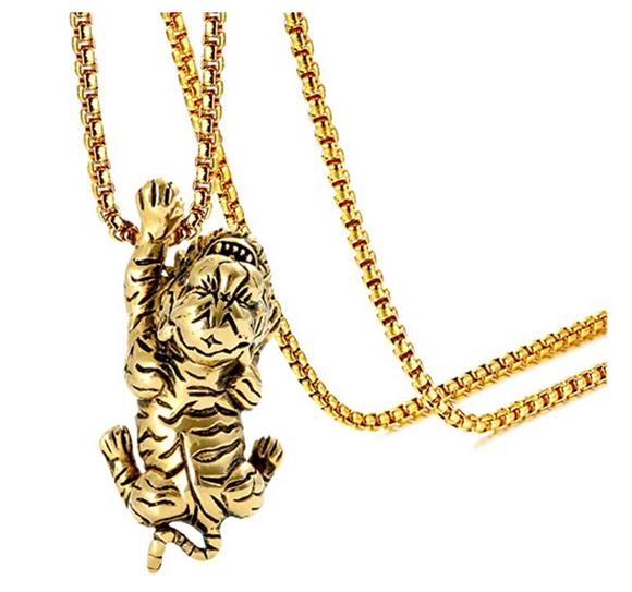 Crawling Tiger Necklace Tiger Eye Pendant Animal Chain Tiger Jewelry Gift 24in.