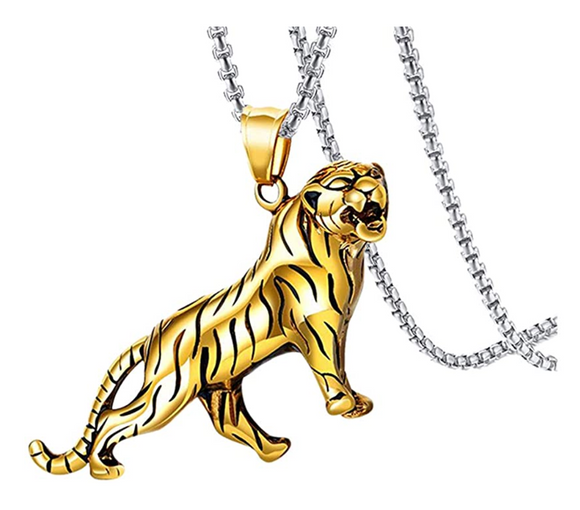 Siberian Tiger Necklace Tiger Eye Pendant Animal Chain Tiger Jewelry Gift Tiger 24in.