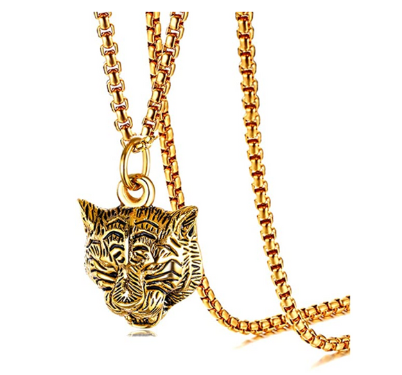 Roaring Gold Tiger Necklace Tiger Eye Pendant Animal Silver Chain Tiger Jewelry Gift Stainless Steel Tiger 24in.
