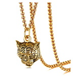 Roaring Tiger Necklace Tiger Eye Pendant Anima Chain Tiger Jewelry Gift 24in.