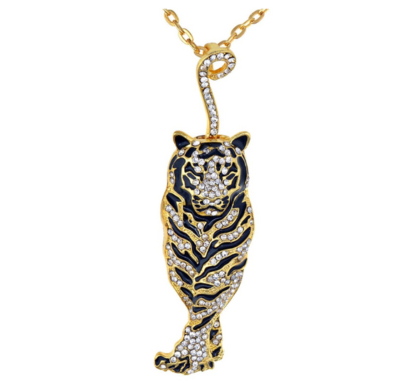 Simulated Diamond Tiger Necklace Gold Tiger Eye Pendant Animal Chain Tiger Jewelry Gift 18in.