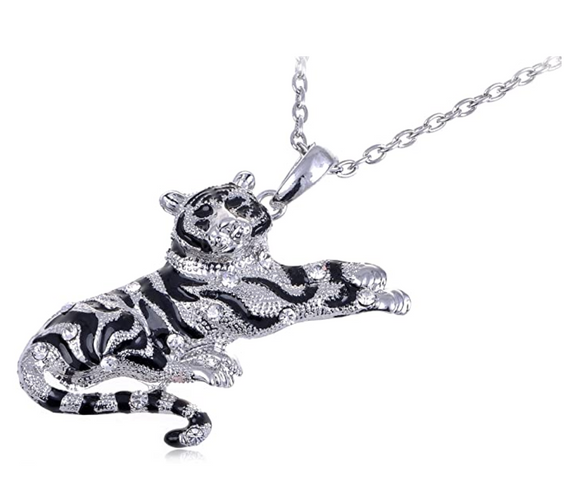 Simulated Diamond Tiger Necklace Tiger Eye Pendant Animal Chain Tiger Jewelry Gift 18in.