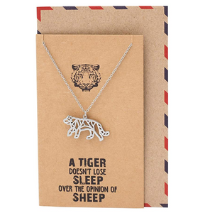 Silver Tiger Necklace Tiger Eye Pendant Animal Chain Tiger Jewelry Gift Card Stainless Steel Tiger 18in.