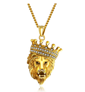 Lion King Necklace Lion Crown Leo Pendant Animal Silver Chain Lion African Jewelry Gift Stainless Steel Gold Color 24in.