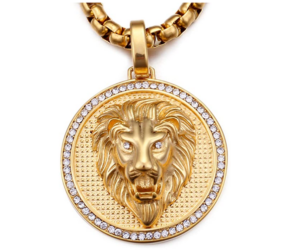 Lion Medallion Necklace Gold Lion Animal Diamond Chain Hebrew Lion Judah Jewelry Gift Lion King Pendant Stainless Steel 24in.