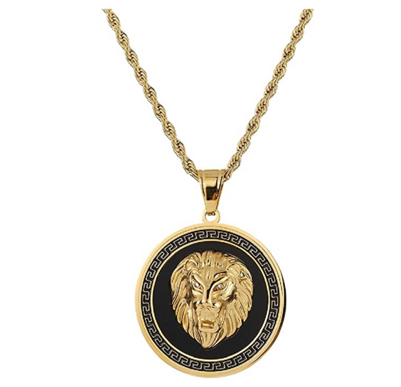 Black Lion Medallion Necklace Gold Lion Animal Chain Hebrew Lion Judah Jewelry Gift Lion King Pendant Stainless Steel 24in.