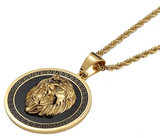 Black Lion Medallion Necklace Leo Lion Animal Chain Hebrew Lion Judah Jewelry Gift Lion King Pendant Stainless Steel Gold Color 24in.