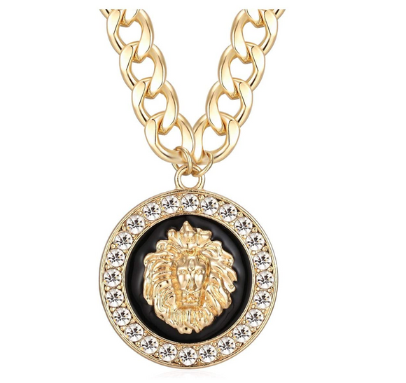 Versace Lion Medallion Necklace Leo Lion Head Chain Stainless Steel Medusa Lion King Pendant Leo Gold Color Metal Alloy Simulated-Diamond 24in.