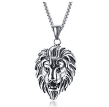 Lion King Necklace Lion Pendant Silver Animal Chain Hebrew Lion Judah African Jewelry Gift Stainless Steel Lion 24in.