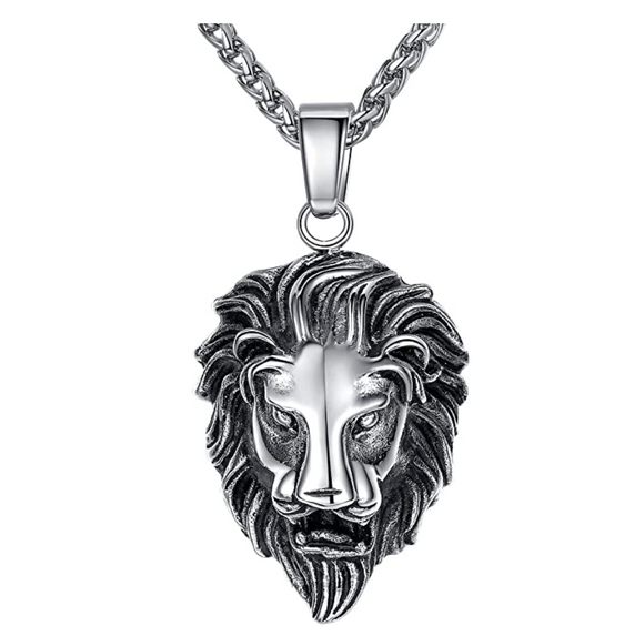 Lion Pendant Silver Lion King Necklace Animal Chain Hebrew Lion Judah African Jewelry Gift Stainless Steel Lion 24in.