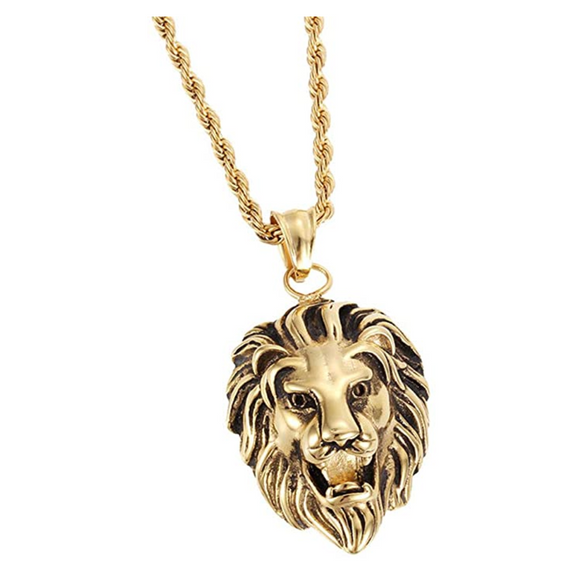 Lion Pendant Gold Lion King Necklace Animal Chain Hebrew Lion Judah African Jewelry Gift Stainless Steel Lion 24in.