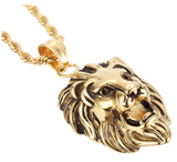 Lion Pendant Lion King Necklace Animal Chain Hebrew Lion Judah African Jewelry Gif Leo Lion Gold Color Metal Alloy 24in.