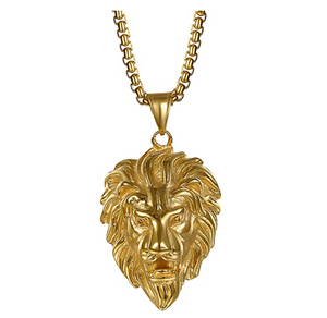 Gold Color Metal Alloy Lion King Necklace Animal Chain Hebrew Lion Leo Judah African Jewelry Gift Lion Pendant Stainless Steel Lion 24in.