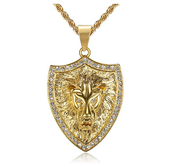 Gold Lion King Necklace Animal Chain Silver Hebrew Lion Judah Shield African Jewelry Gift Lion Pendant Stainless Steel Diamond Lion 24in.