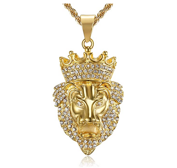 Gold Lion King Necklace Diamond Animal Chain Hebrew Lion Judah African Jewelry Gift Lion Crown Pendant Stainless Steel 24in.