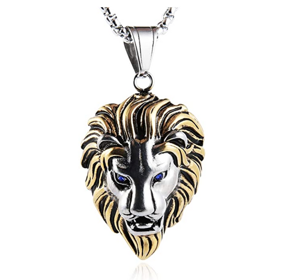Silver & Gold African Lion King Necklace Animal Chain Hebrew Lion Judah Jewelry Gift Lion Pendant Stainless Steel 24in.