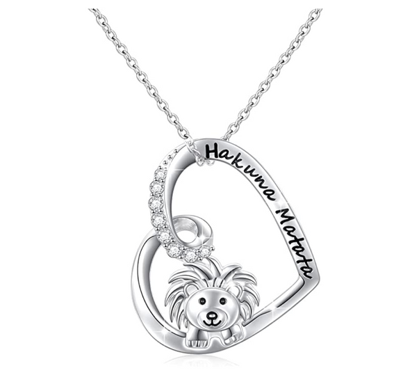Heart Lion Necklace Silver Animal Leo Chain Hebrew Lion Judah Jewelry Gift Lion King Pendant Simulated-Diamond 18in.