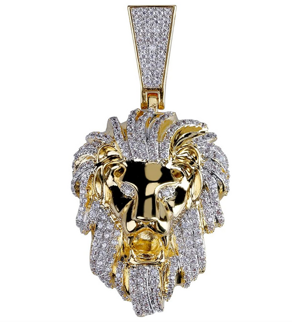 Lion Necklace Animal Diamond Gold Chain Hebrew Lion Judah Jewelry Gift Lion King Pendant Stainless Steel 24in.