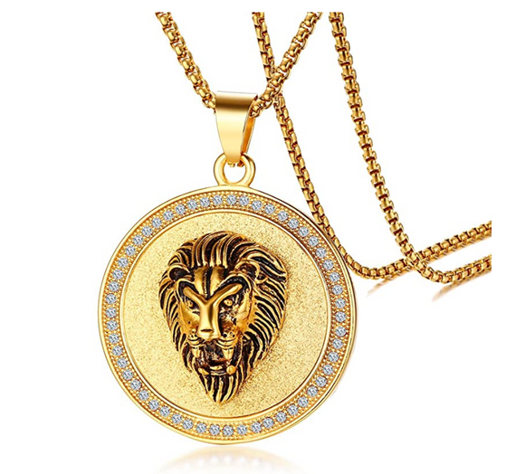 Lion Necklace Gold Lion Medallion Animal Diamond Chain Hebrew Lion Judah Jewelry Gift Lion King Pendant Stainless Steel 24in.