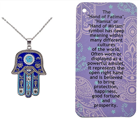 Blue Buddhist Hamsa Hand Fatima Necklace Chai Evil Eye Lucky Charm Kabbalah Merkaba Lotus Muslim Allah Jewelry Yoga Silver 18in.