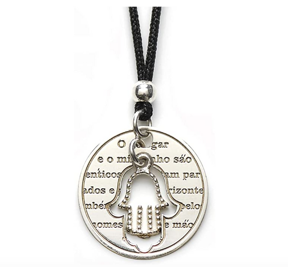 Circle Hamsa Hand Fatima Necklace Evil Eye Lucky Charm Kabbalah Merkaba Allah Muslim Yoga Jewelry 20in.