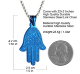 Blue Hamsa Hand Fatima Rose Gold Necklace Silver Evil Eye Lucky Charm Kabbalah Merkaba 24in.
