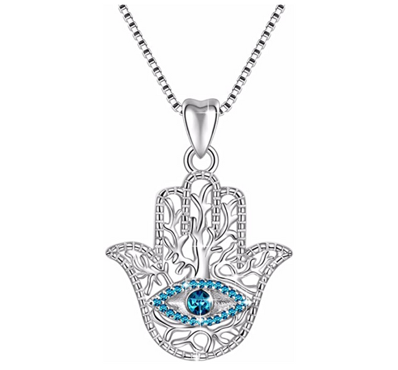 Blue Diamond Hamsa Hand Black Fatima Necklace Silver Evil Eye Lucky Charm Kabbalah Merkaba Allah Muslim Jewelry Yoga 18in.