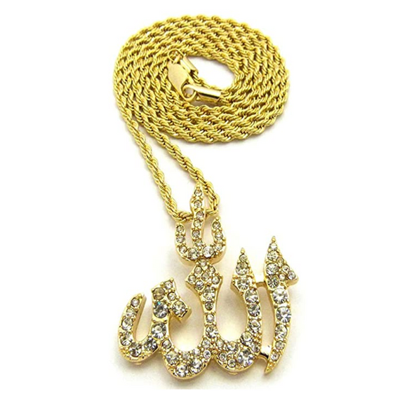 Iced Out Allah Simulated Diamond Necklace Allah Pendant Islamic Hip Hop Jewelry Allah Chain Gold Silver Color Metal Alloy 24in.
